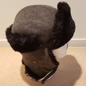NWT Trooper Trapper Wool Faux Fur Hat Adjust Strap